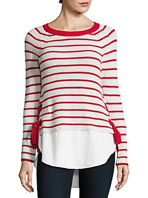 Long-Sleeve Hi-Lo Striped Sweater