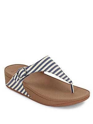 Striped Strap Slip-On Sandals