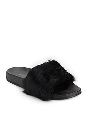 Rabbit Fur Slide Sandals