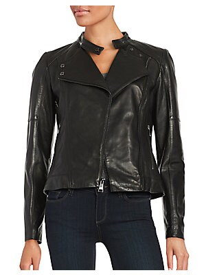 Asymmetrical Zipper Leather Moto Jacket