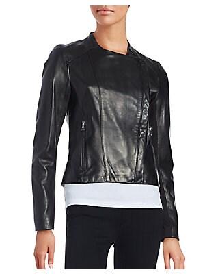 Asymmetrical Front Leather Moto Jacket