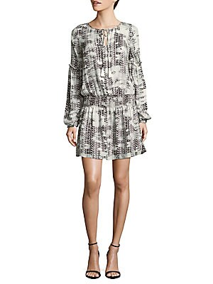 Maeve Printed Silk Dropwaist Dress