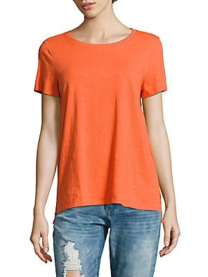 Solid High-Low Cotton Tee
