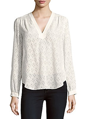 Solid Silk-Blend Blouse