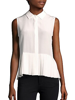 Sleeveless Solid Silk Top