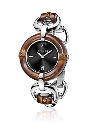 Bamboo & Stainless Steel Bracelet Watch