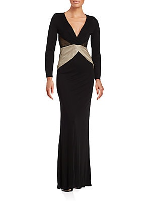 Deep V-Neck Long Sleeve Gown
