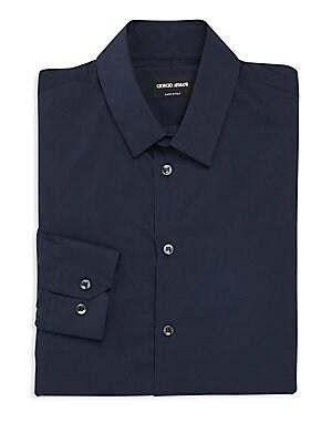 Slim-Fit Cotton Blend Dress Shirt