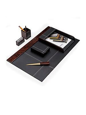 Wood & Leather Desk Set- 6 Piece