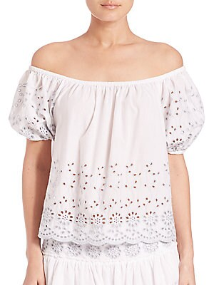 Off-Shoulder Eyelet Cotton Top