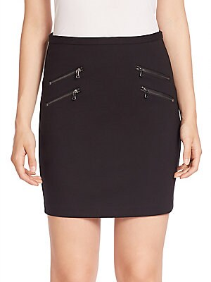 Edgemont Zip-Back Stretch Jersey Mini Skirt