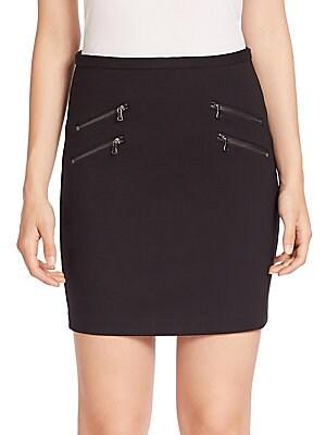 Edgemont Zip-Back Stretch Jersey Mini Skirt