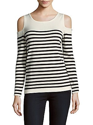 Striped Cold-Shoulder Pullover