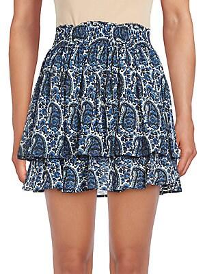 Ruffled Paisley Mini Skirt