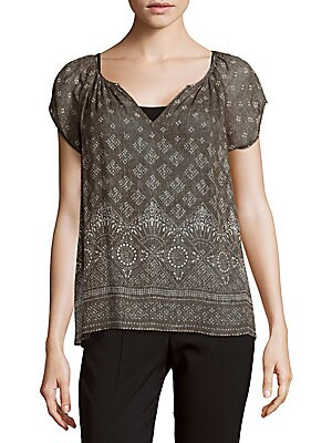 Gilliane Silk Batik-Print Top