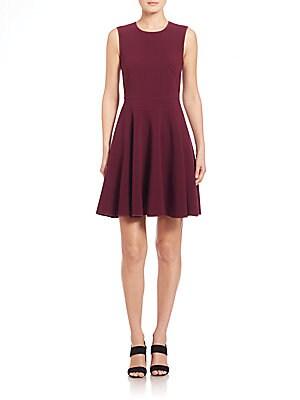 Silk Trim Fit-&-Flare Dress