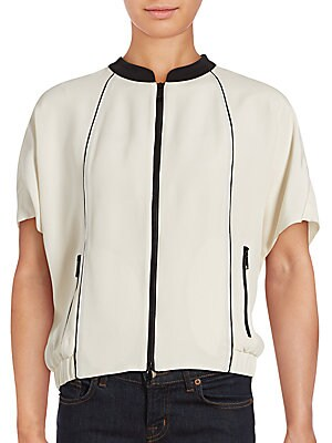 Amari Stand Collar Short Sleeve Silk Top
