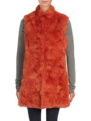 Sleeveless Dyed Rabbit Fur Jacket