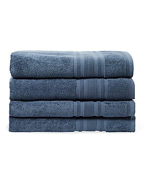 Bordered Cotton Bath Towel- Set of 4