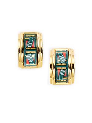 Green/Gold Ribbon Enamel Earring