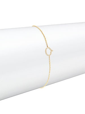 Click here for White Diamonds & 14K Yellow Gold Caption Chain Bra... prices