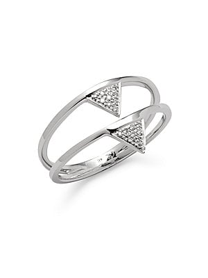 Click here for Diamond & 14K White Gold Double Triangle Ring prices
