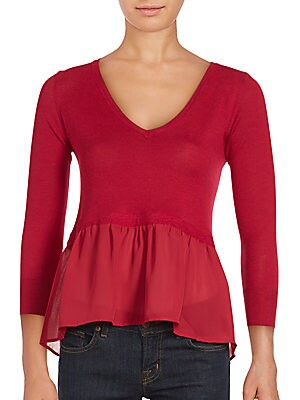 Ripple Knit Ruffled Top