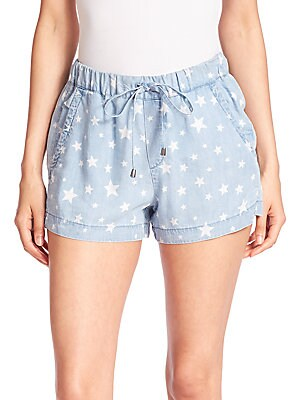 Chambray Star-Print Shorts