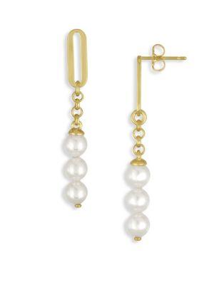 6MM Organic Organic Pearl Linear Drop Earrings Majorica