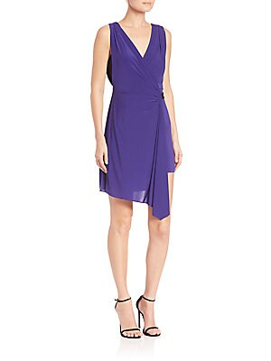 Eda Asymmetrical Belted Jersey Wrap Dress