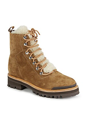 Shearling Lace-Front Shearling Ankle-Top Boots