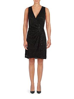 Embellished Solid Wrap Dress
