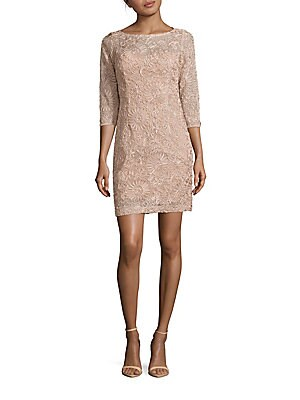 Three-Quarter Sleeve Embossed Sheath Dress
