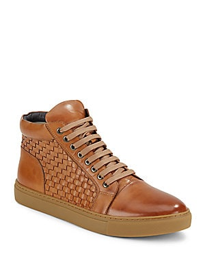 Soul Woven Leather High-Top Sneakers
