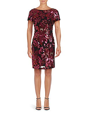 Floral Sequined Sheath Dress