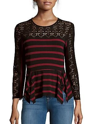 Striped Asymmetric Lace Top