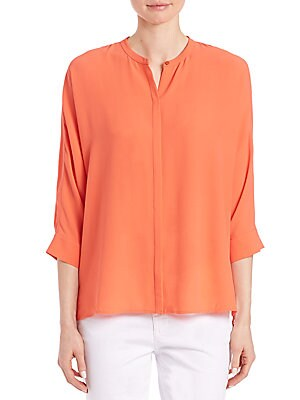 Silk Button-Front Blouse