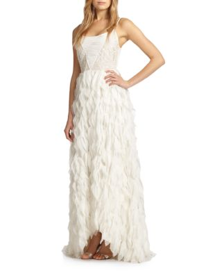 Eaddy Embroidered Feather Gown