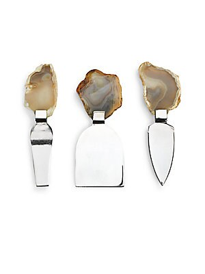Three-Piece Genuine Agate & Stainless Steel Cheese Set