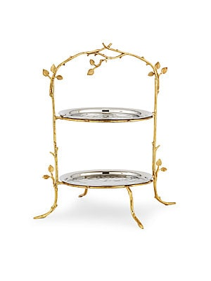 Two-Tier Gold Leaf Serving Stand & Plate Set