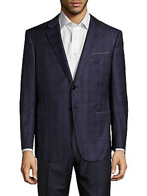 Wool & Silk-Blend Windowpane Jacket