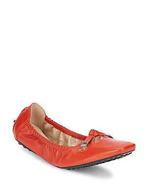 Square Toe Leather Ballet Flats
