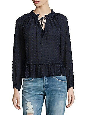 Cotton & Silk Long-Sleeve Ruffled Top