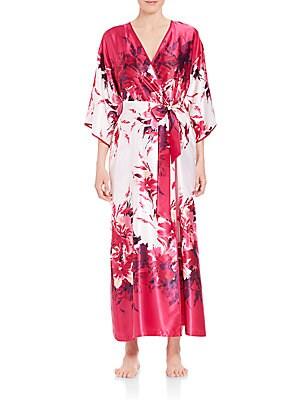 Printed Charmeuse Robe