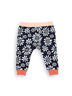 Little Girl's Knit Floral Motif Pants