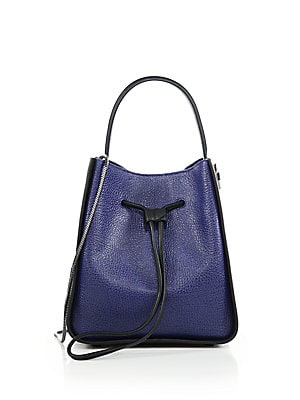 Soleil Small Two-Tone Leather Bucket Bag