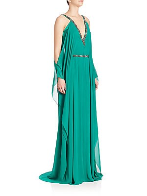 Cold Shoulder Chiffon Silk Caftan Gown