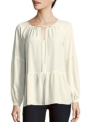 Solid Tie-Neck Peasant Blouse