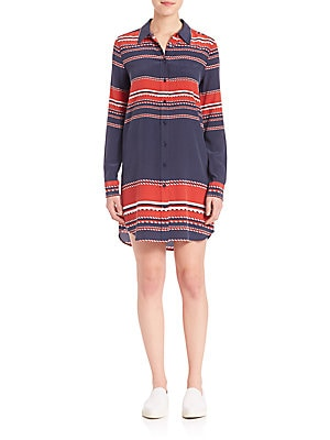 Brett Silk Bowline Stripe Dress