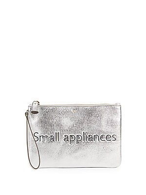 Top-Zip Leather Pouch
